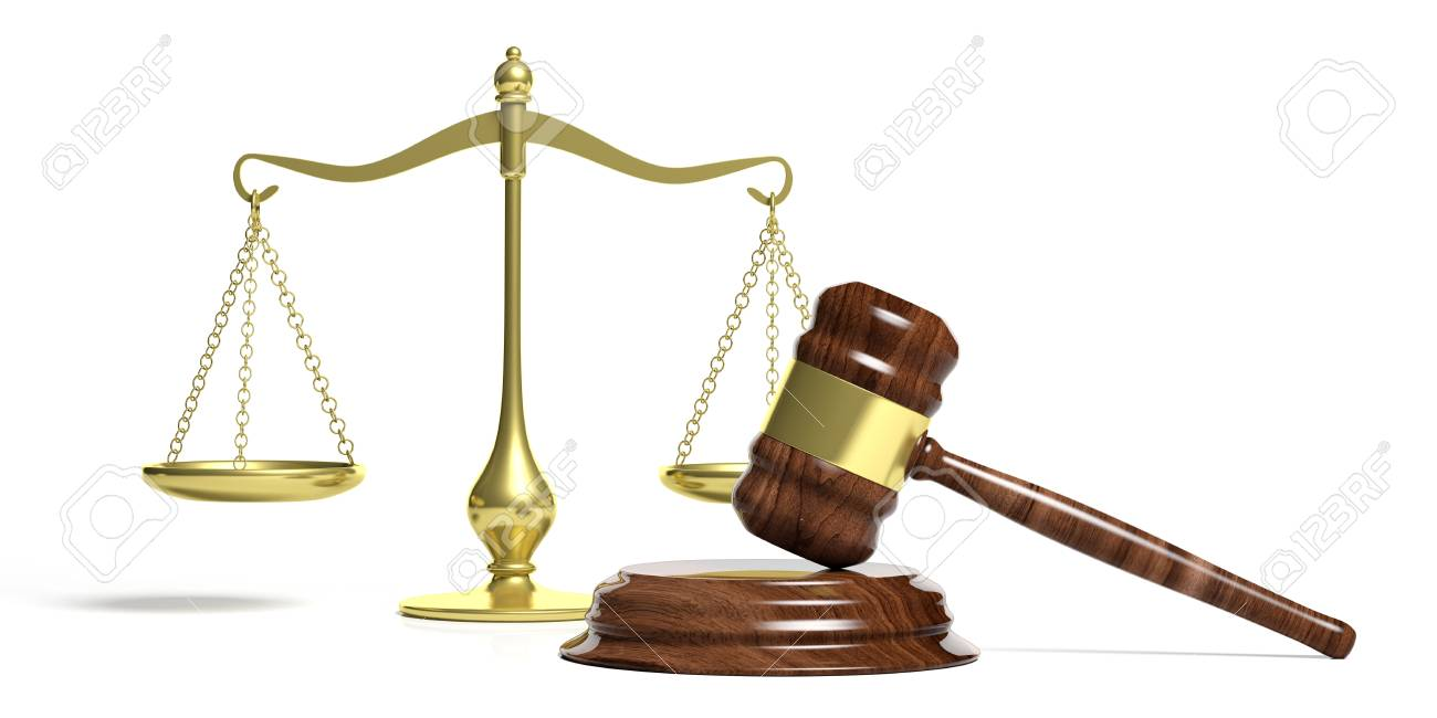 law theme. judge gavel and justice balance scale on white background