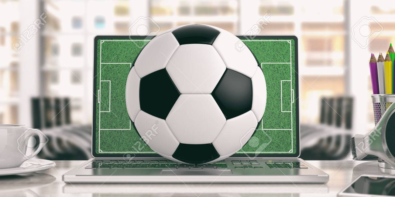 illustration soccer ball on a laptop office background 3d illustration