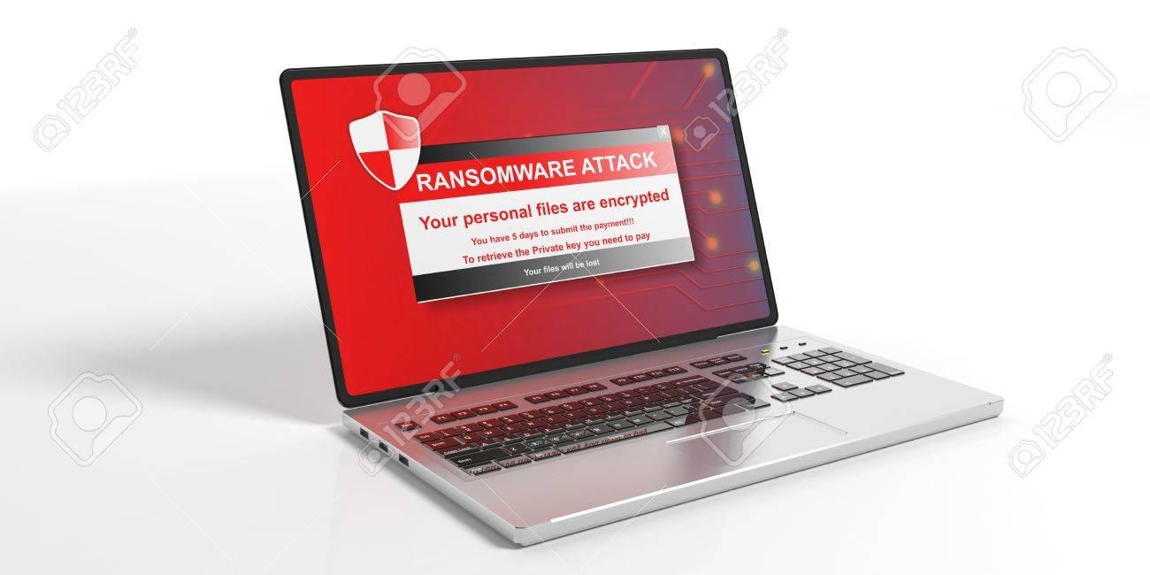 Ransomware alert on a laptop screen - white background. 3d illustration - 80697306