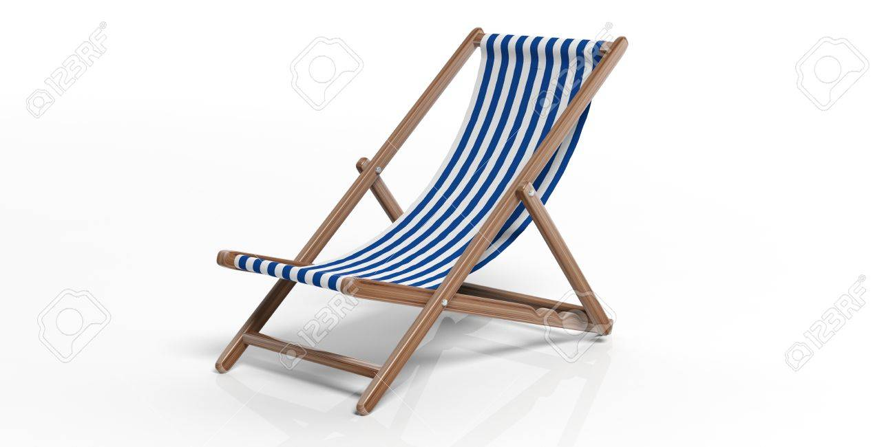 Genial Illustration   Summer Vacation. Beach Chair Isolated On White Background.  3d Illustration