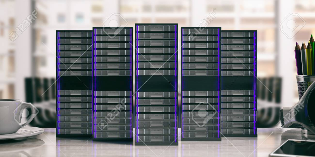 Computer server storage units isolated on office background. 3d illustration Stock Illustration - 81843941 & Computer Server Storage Units Isolated On Office Background... Stock ...