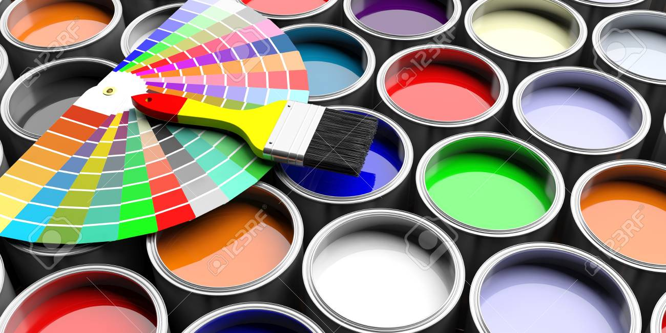 paint colors catalogue and brush on paint cans background 3d