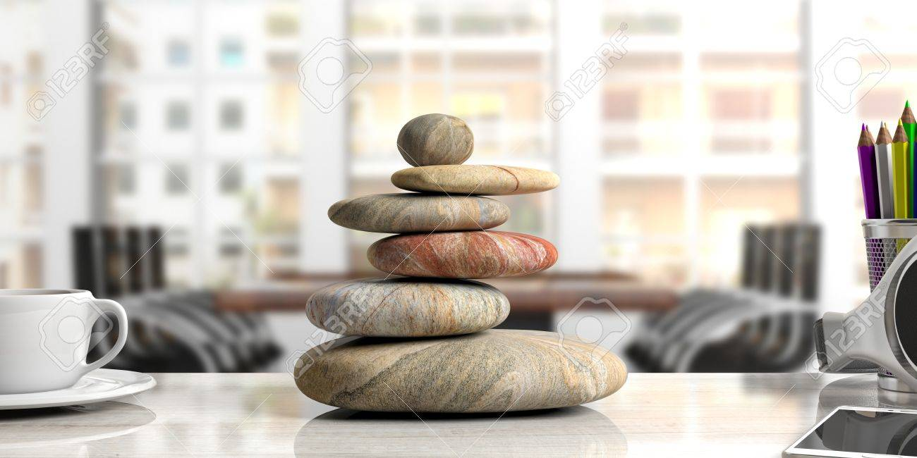 zen office furniture. Beautiful Office Illustration  Relaxation At The Office Zen Stones Stack On An Office Desk  3d Illustration To Office Furniture U