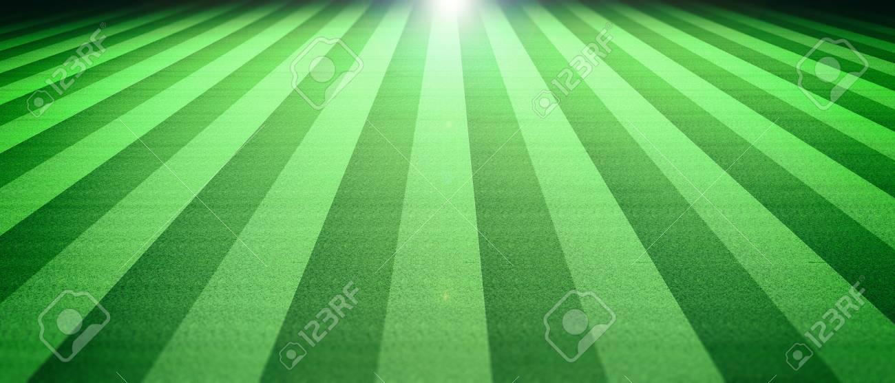 Illuminated Soccer (football) Field Grass Background At Night. 3d  Illustration Stock Illustration