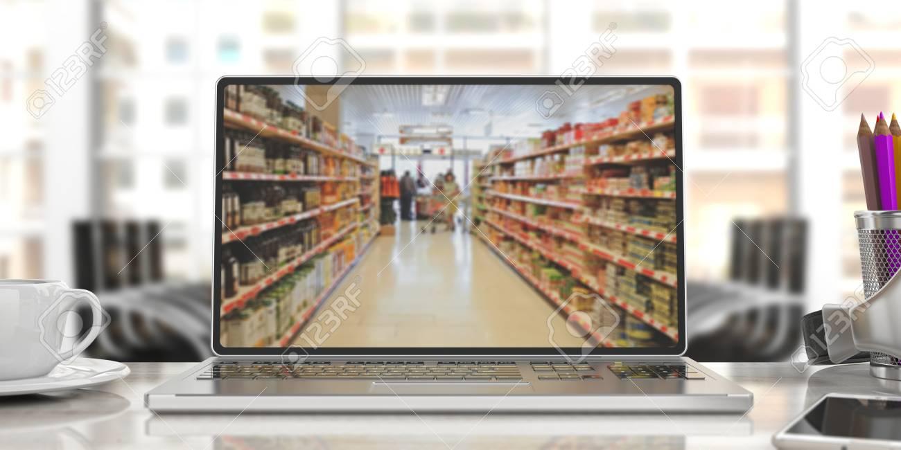 Supermarket online shopping. Blur supermarket on a laptop screen, office background. 3d illustration - 88766478