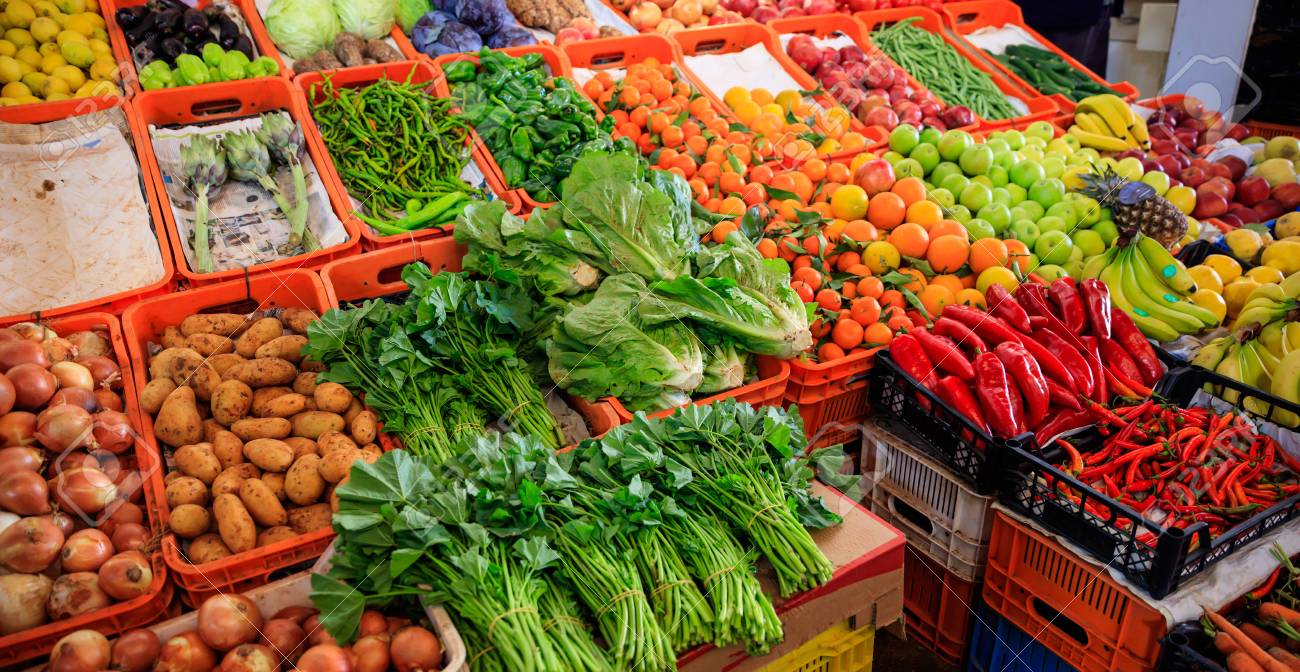 Variety of fresh vegetables and fruits for sale in a market in Nicosia Cyprus. Closeup view with details. - 92398427