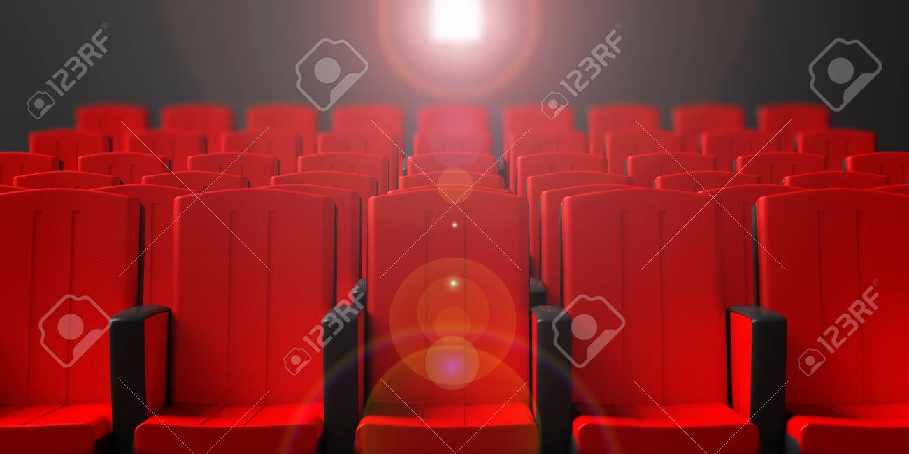red theater chairs. Illustration - Red Theater Chairs On Dark Background With Projection Light, Front View. 3d