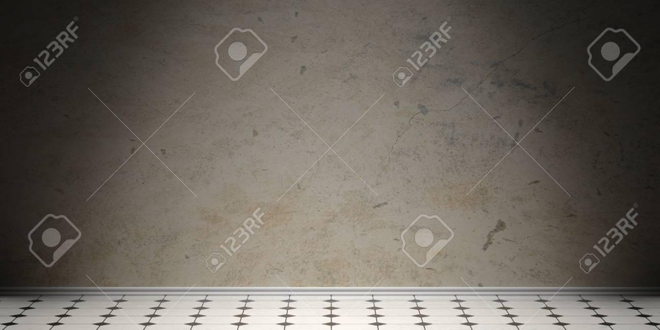 Vintage White Ceramic Tiles Floor With Black Details, Old Grey ...