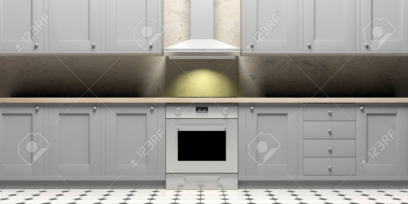 Kitchen cabinets and eletric stove and hood on ceramic tiles stock illustration kitchen cabinets and eletric stove and hood on ceramic tiles floor and grey wall front view 3d illustration dailygadgetfo Choice Image