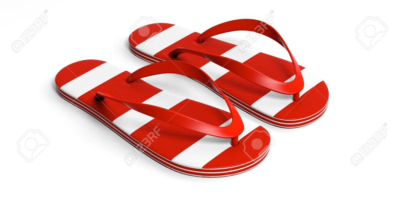 White Stripes Flip Flops Isolated