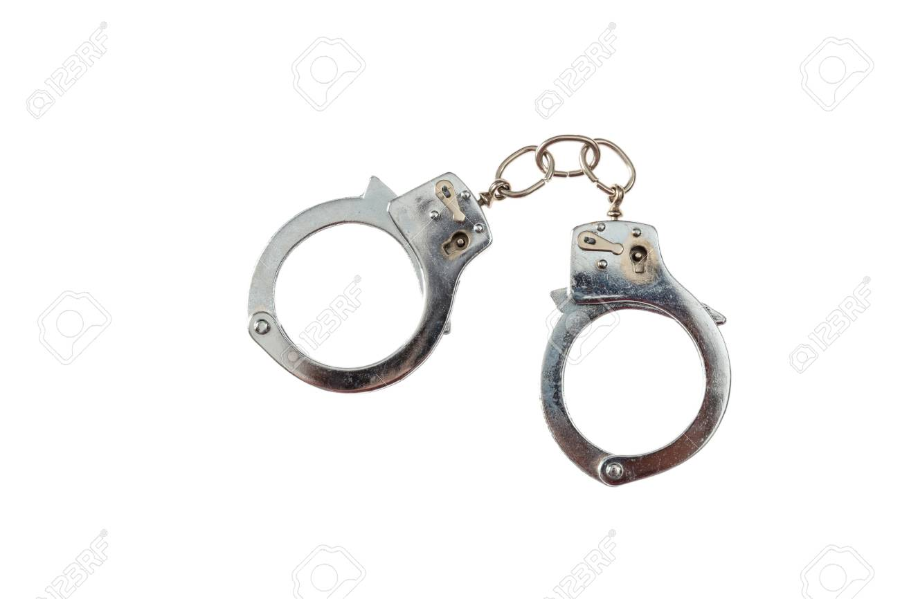 Arrest or bontage concept. Metal locked handcuffs isolated on white background, top view - 100698516