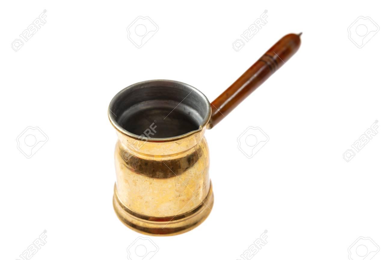 Kitchen Concept Brass Metal Turkish Greek Coffee Pot With Wooden