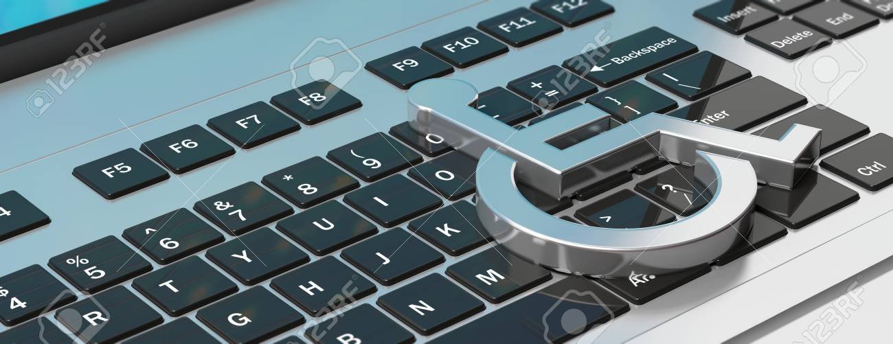 Technology For Disabled Wheelchair Sign On Computer Laptop Keyboard Stock Photo Picture And Royalty Free Image Image 104496814