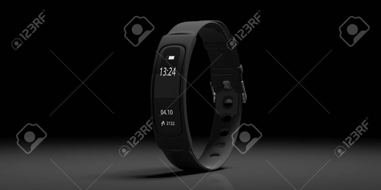 Fitness and technology, healthy lifestyle. Fitness tracker, smart watch, black, on black background, copy space. 3d illustration - 114519170