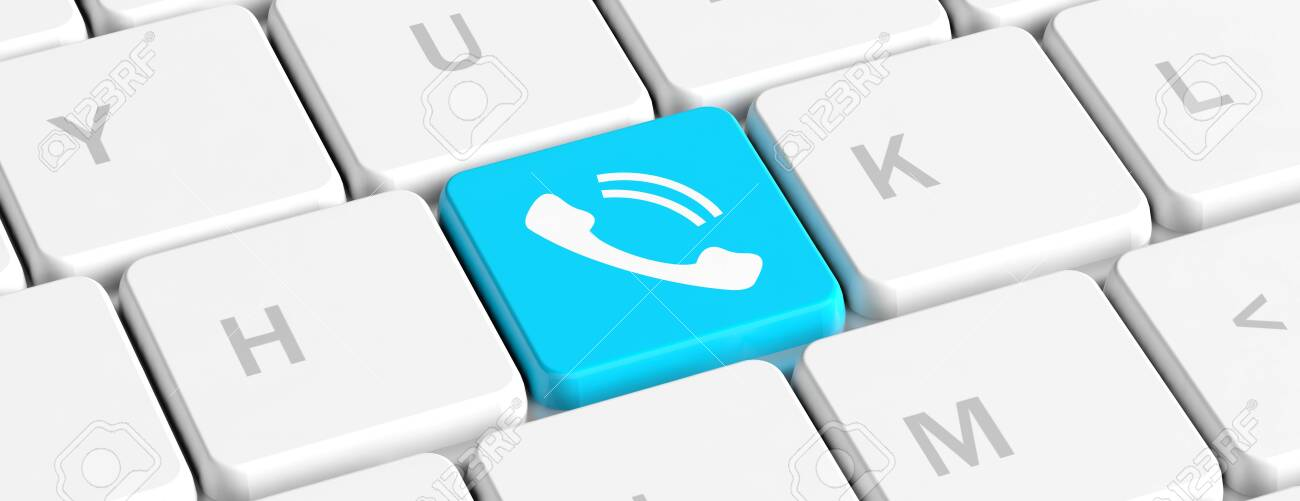 Call Us Concept Blue Key Button With Phone Sign On A Computer Stock Photo Picture And Royalty Free Image Image 118860675