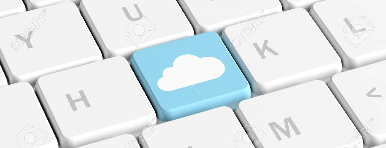 Cloud Computing Concept Blue Key Button With A Cloud On A Computer Stock Photo Picture And Royalty Free Image Image 118860715