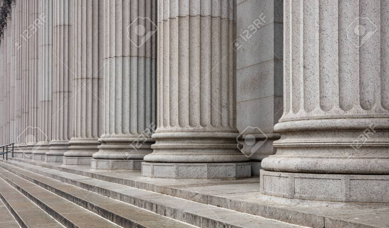 Stone colonnade and stairs detail. Classical pillars row in a building facade - 125798728