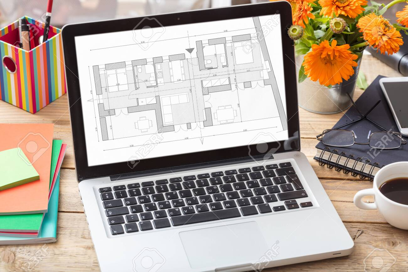 Building project blueprint plan on a computer screen. Architect designer office desk, Real estate, construction concept, - 130912537