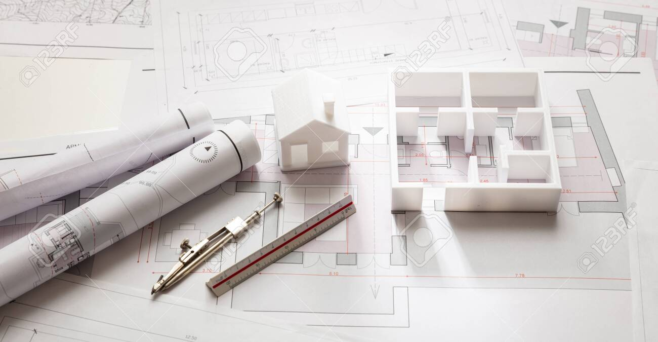 Residential building project architectural design, blueprint plans and house model, banner - 133734203