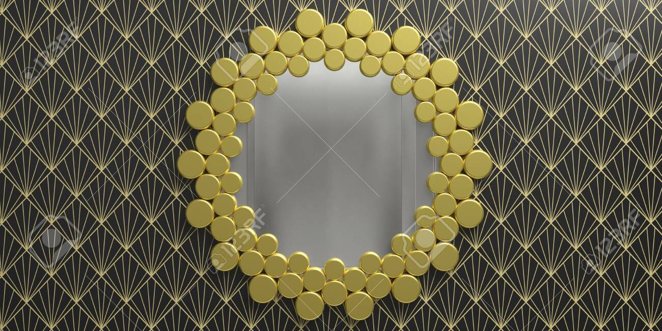 Art Deco Style Home Interior Gilded Frame Mirror Round Shape On Wallpaper Background Black And Gold Color 3d Illustration Banque D Images Et Photos Libres De Droits Image 137153436