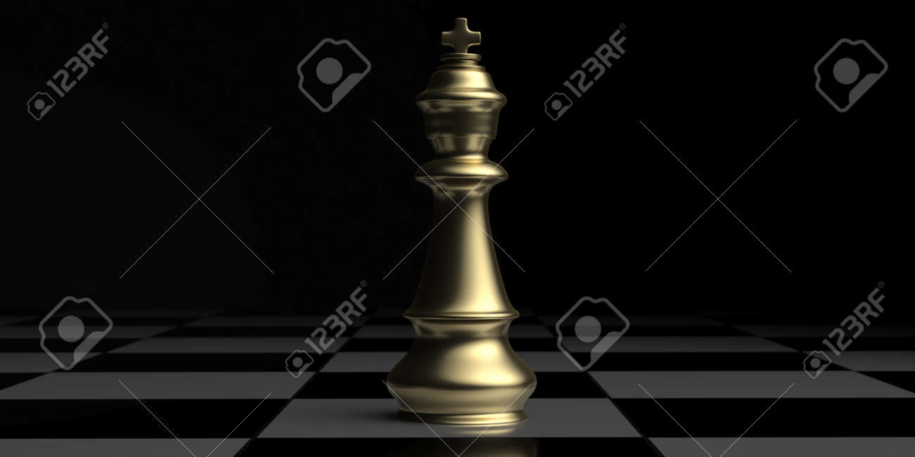 Winner chess king gold standing on a chessboard, black background. Victory, win, success concept. Copy space, template. 3D illustration. - 159828215