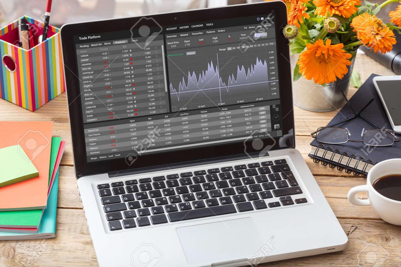 Trade platform, forex trading. Stock exchange market analysis, monitoring app on laptop screen, office desk background. Binary option, candlestick chart. - 165639354