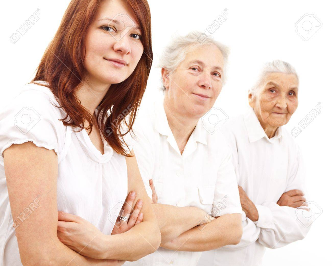 three women from three generations standing in white generations in white standing in f Stock Photo - 11913908
