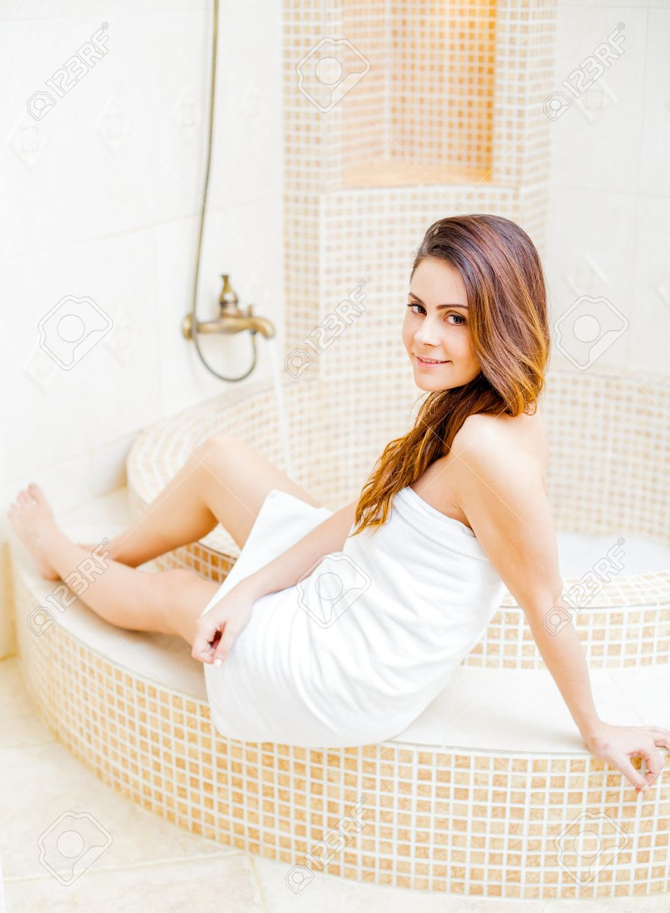 Hot bathroom pictures - Hot Girl In The Bathroom In White Towel Stock Photo 41558945