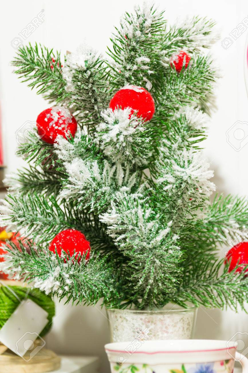 Little Plastic Christmas Tree With Red Balls
