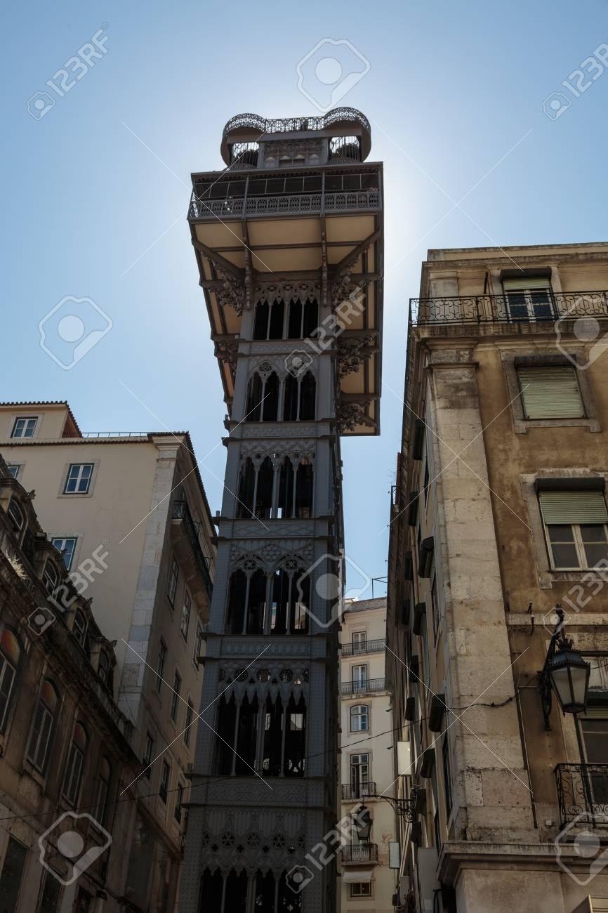 Famous Iron Santa Justa Lift (or Carmo Elevator) in Lisbon, Portugal