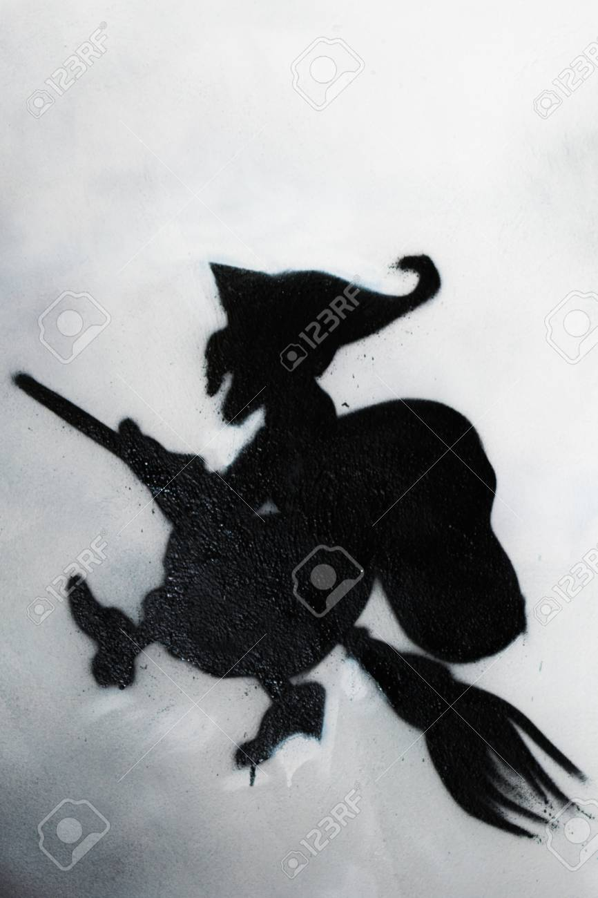 Witch Fly On The Broom And Moon In Background Befana Grafito