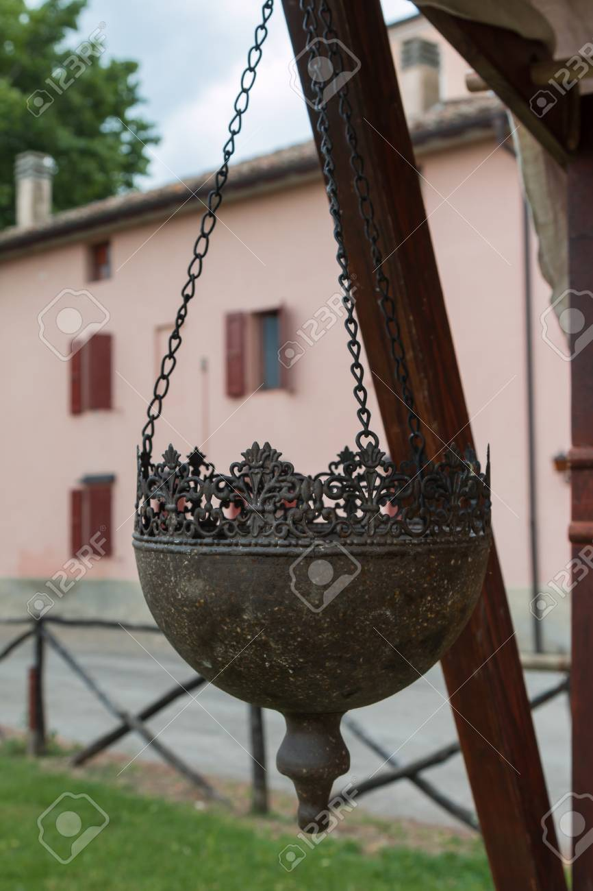 Hanging Planters Pots Wrought Half Round In Italy Stock Photo