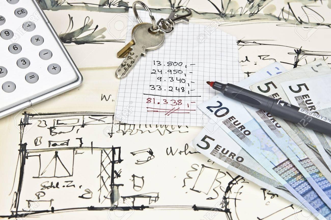 the blueprint of a house with keys a calculator a pencil money