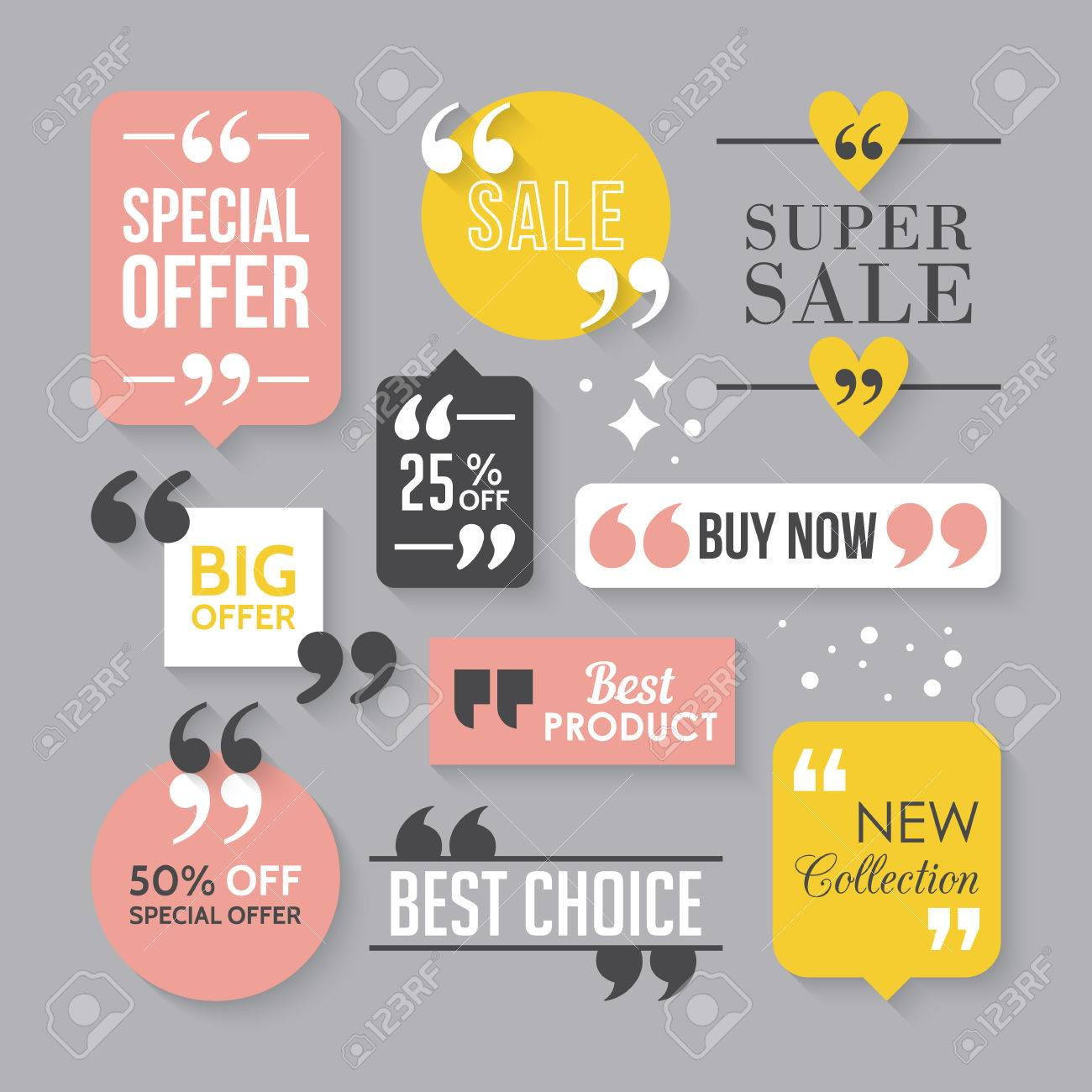 Modern Block Quote And Pull Quote Sale Sign Design Elements ...