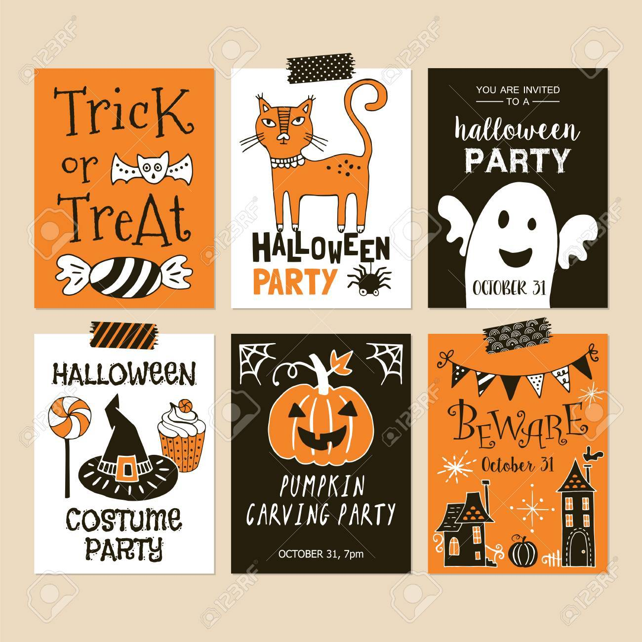 Halloween Holiday Party Invitation Template Set Royalty Free