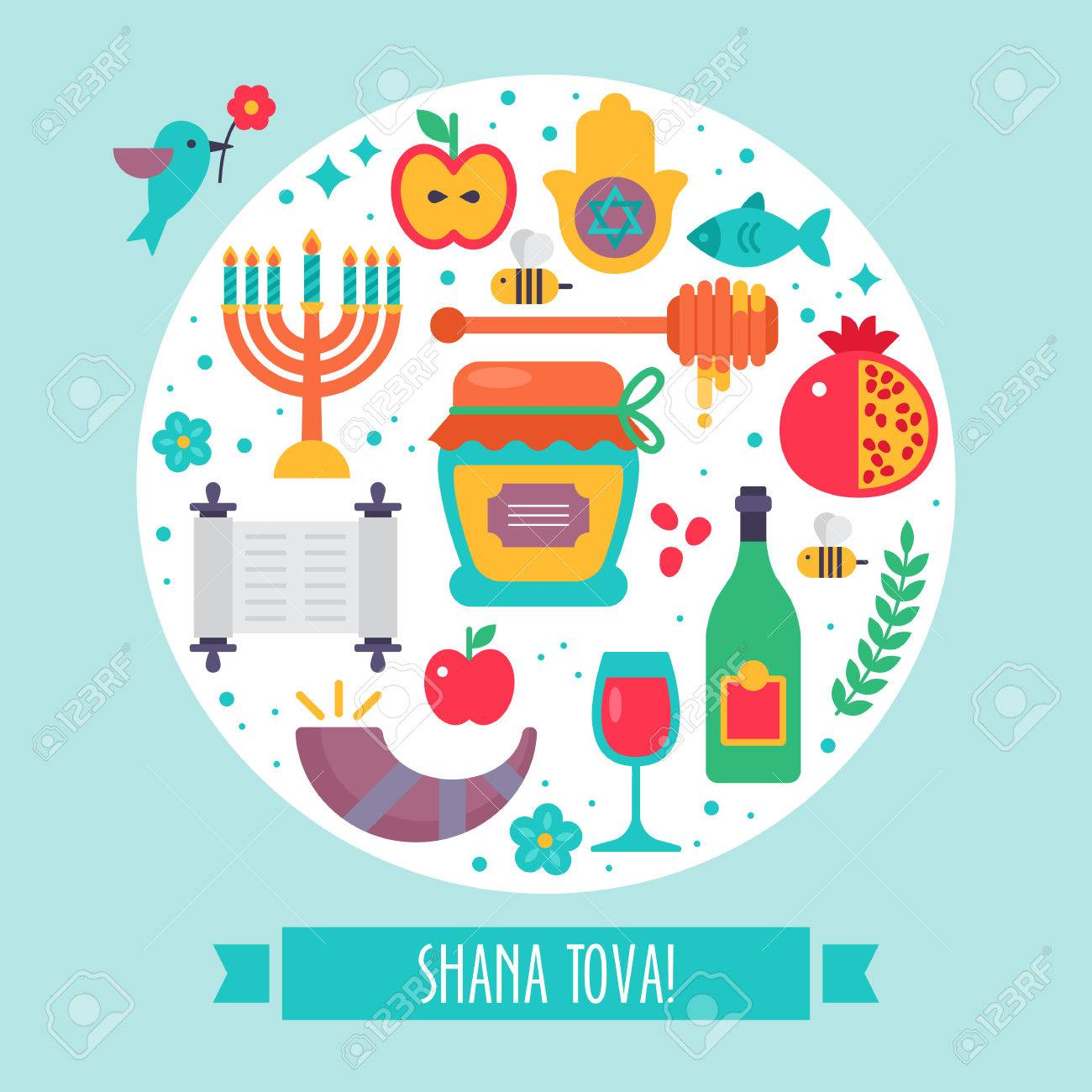 Rosh hashanah jewish new year flat modern round greeting design rosh hashanah jewish new year flat modern round greeting design stock vector 63372405 kristyandbryce Choice Image