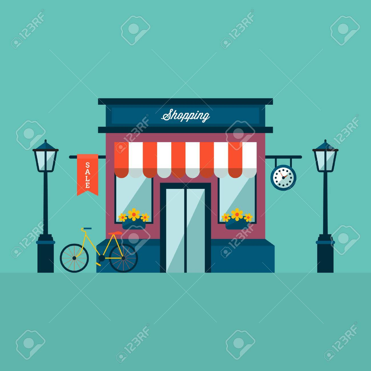 Shop building with bycicle and lamps Stock Vector - 64218819