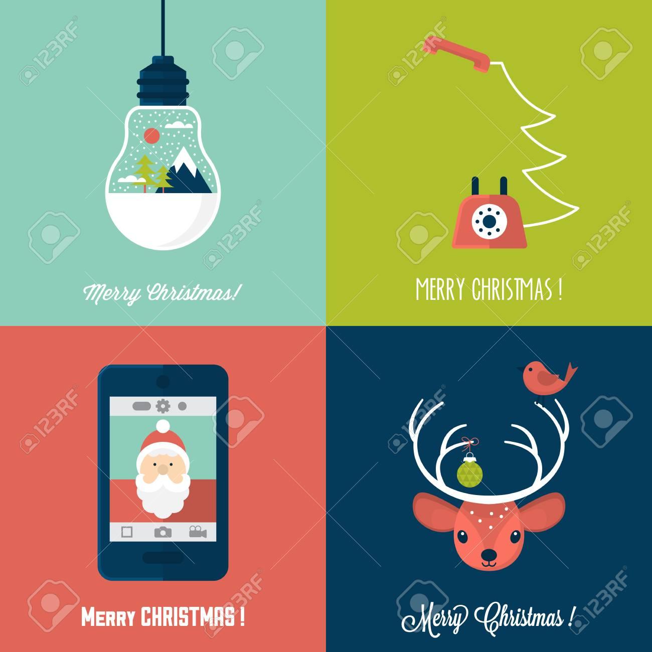 Modern Christmas Card Flat Stylish Design. Set Of Christmas ...