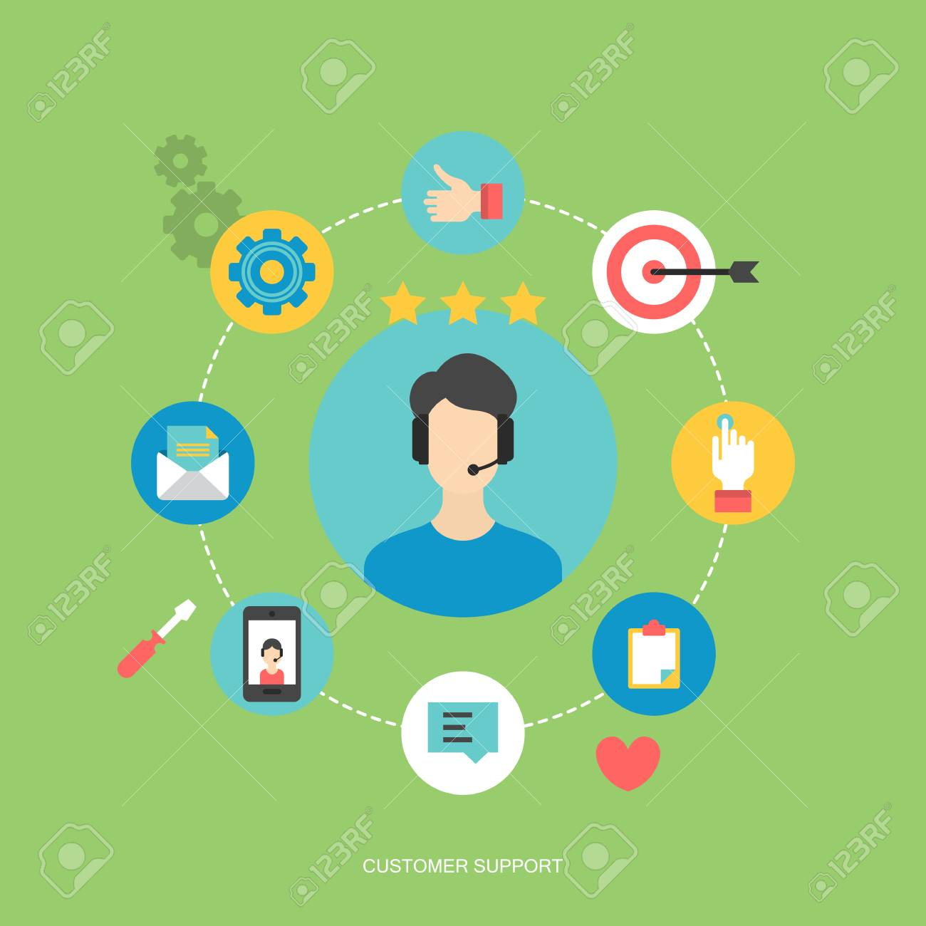 Flat Icons Design For Customer Service And Client Experience Concept Stock Vector