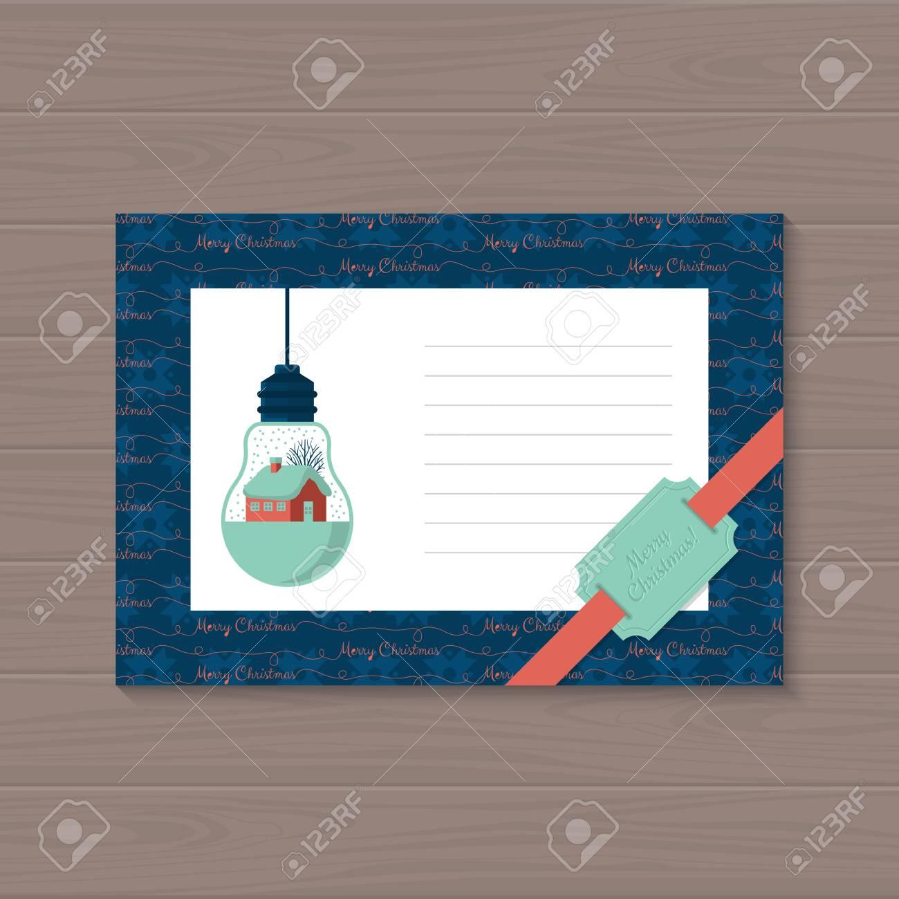 Modern Christmas Card Flat Stylish Design. Christmas Greeting ...