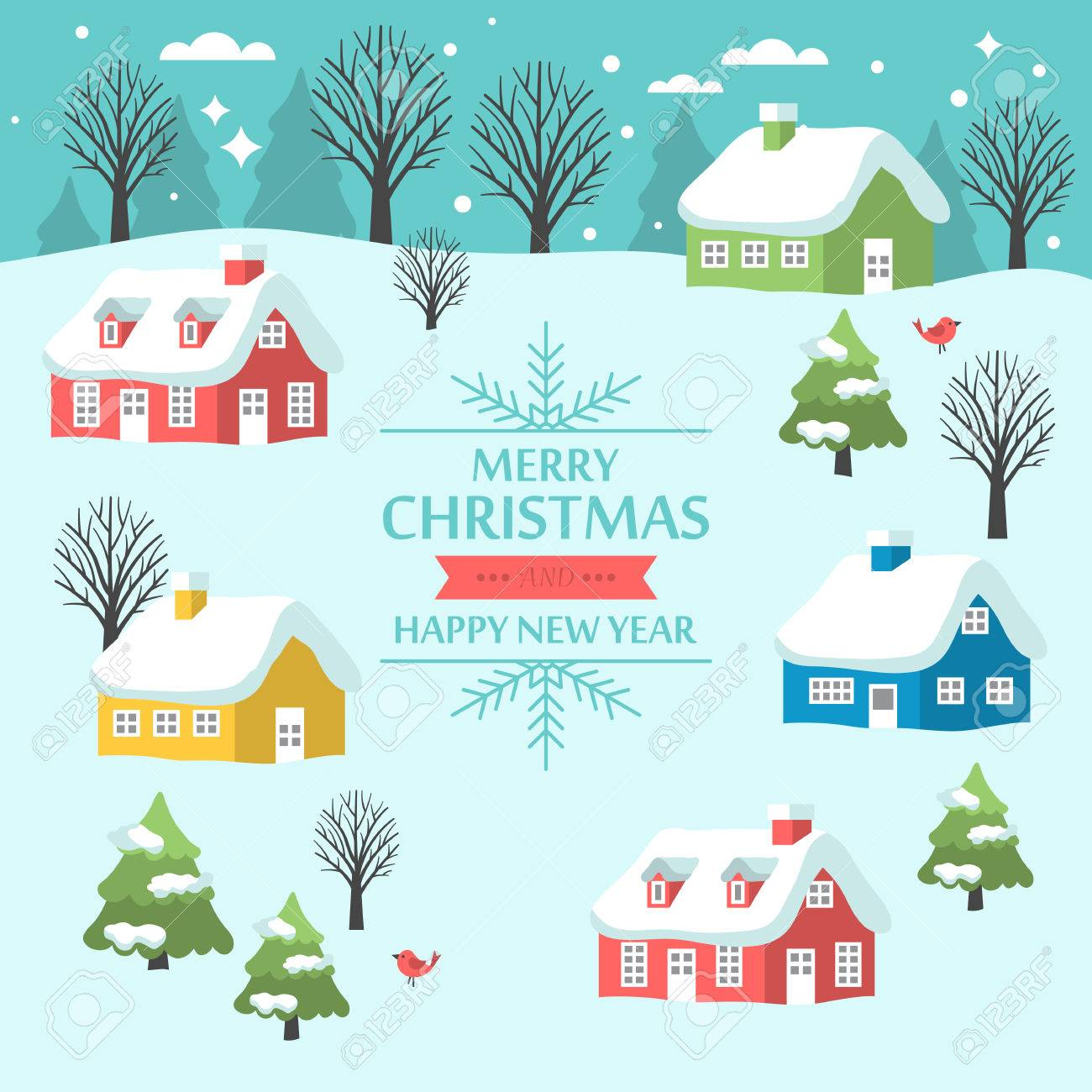 Christmas Greeting Card Design With Country Landscape And Small