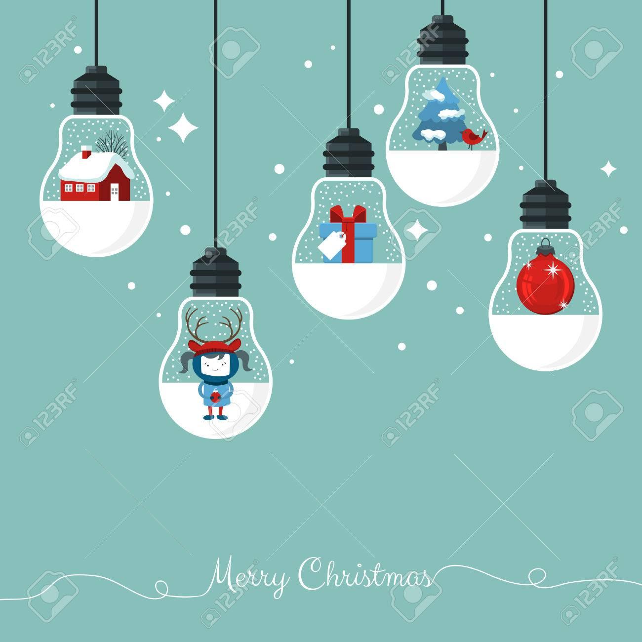 Modern Christmas card flat stylish design. Creative design with hanging light bulbs - 64231835