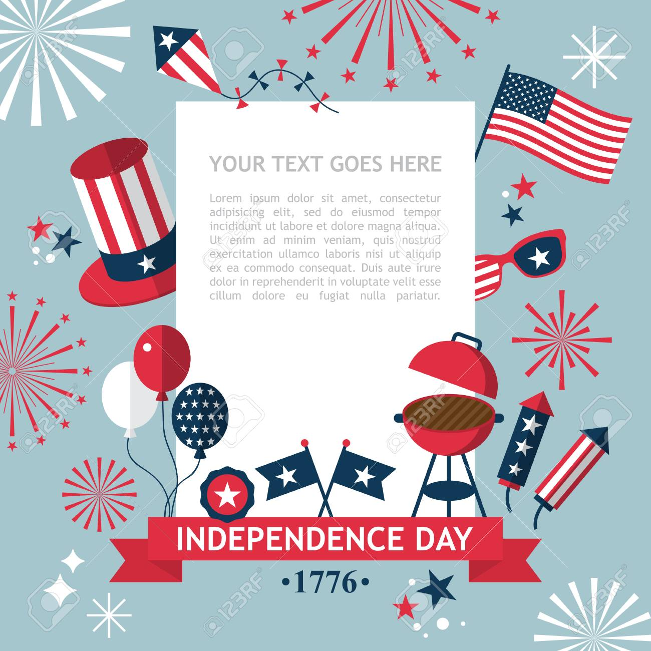 4th of july independence day of the usa party invitation template