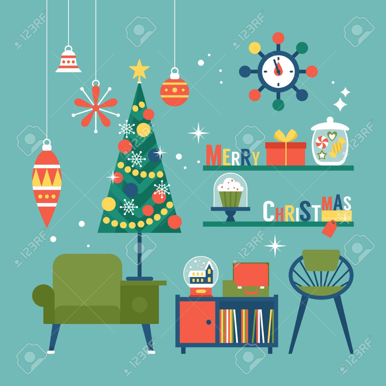 Modern creative Christmas greeting card design with mid century furnitureand Christmas decorations. Vector illustration - 64235524