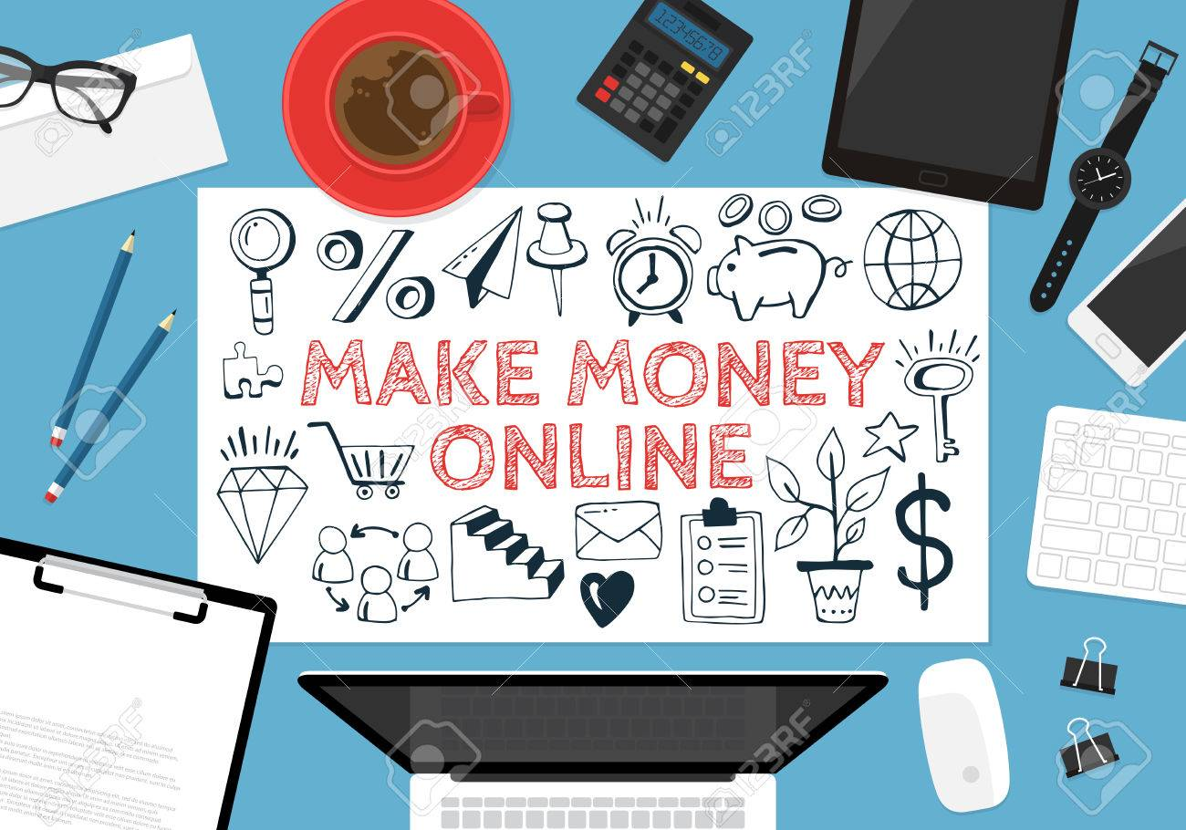 Make Money Online Concept With Hand Drawing Icons And Flat Stylish ...