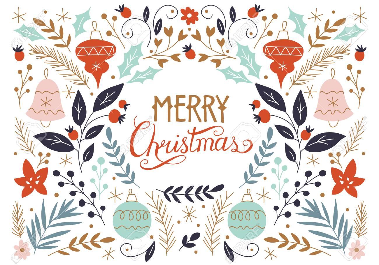 Joyeux Noël Dessin à La Main Carte De Voeux Avec Des éléments