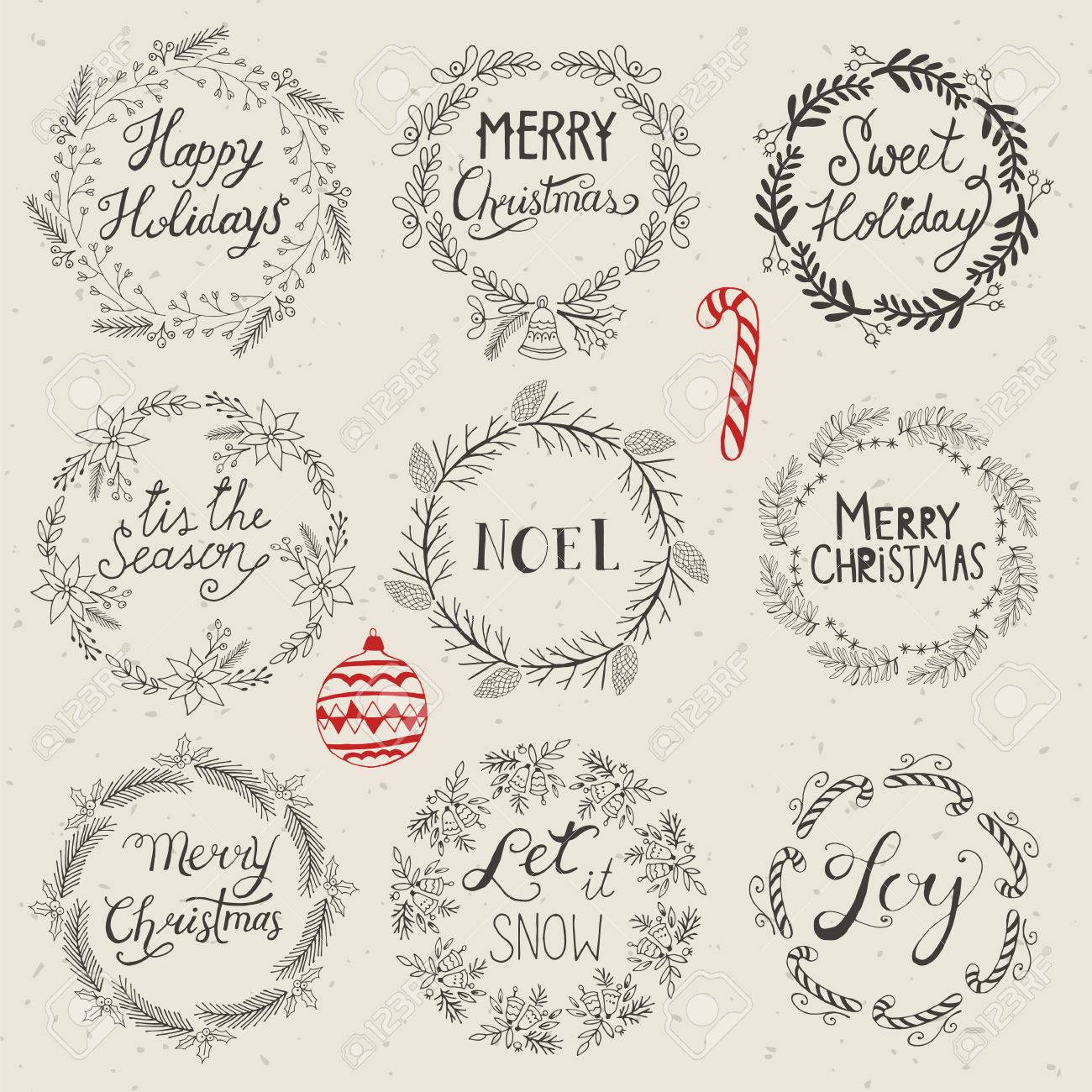 Christmas Wreath Set For Design Hand Drawing Vector Illustration Royalty Free Cliparts Vectors And Stock Illustration Image 64198017