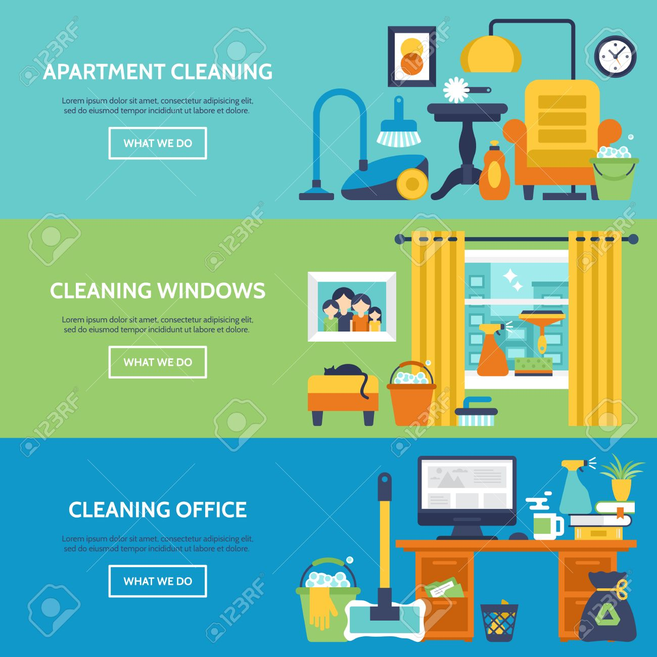Cleaning Services Website Banner Design. Apartment, Office And ...