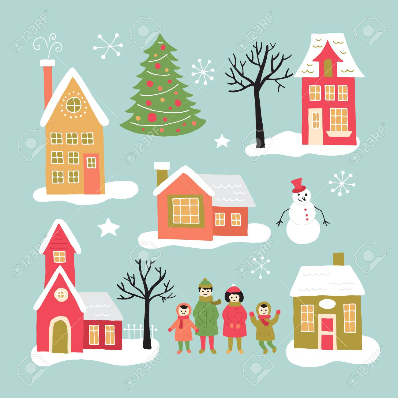 Christmas Houses Village.Christmas Holiday Hand Drawing Elements Set For Graphic And Web