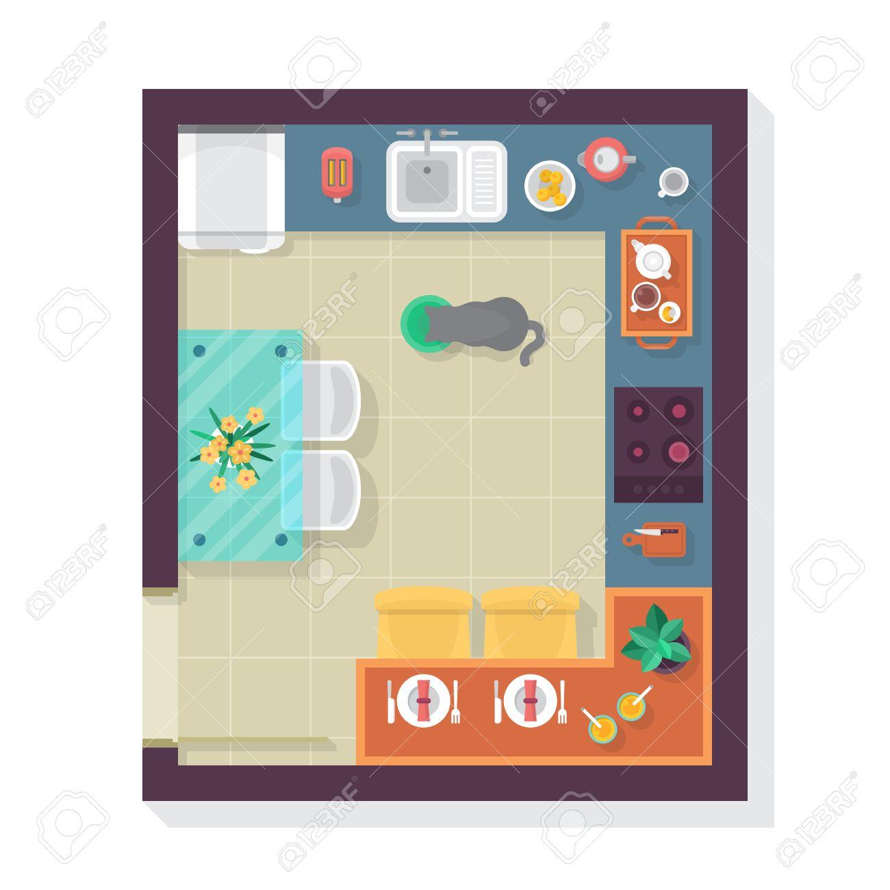Plan De Piso De La Cocina Vista Desde Arriba. Juego De Muebles Para ...